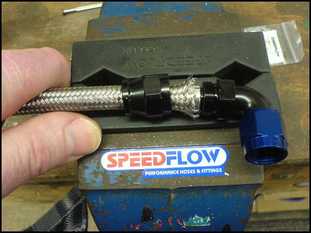 Install Teflon hose fittings